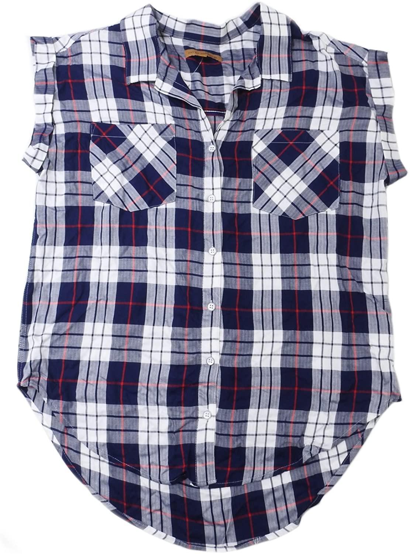JACHS Girlfriend Womens 100% Rayon Button Down Plaid Blouse, White/Navy/Red