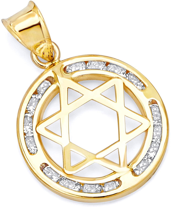 GoldenMine 14k Yellow Gold Star of David CZ Pendant (Size : 21 x 15 mm)