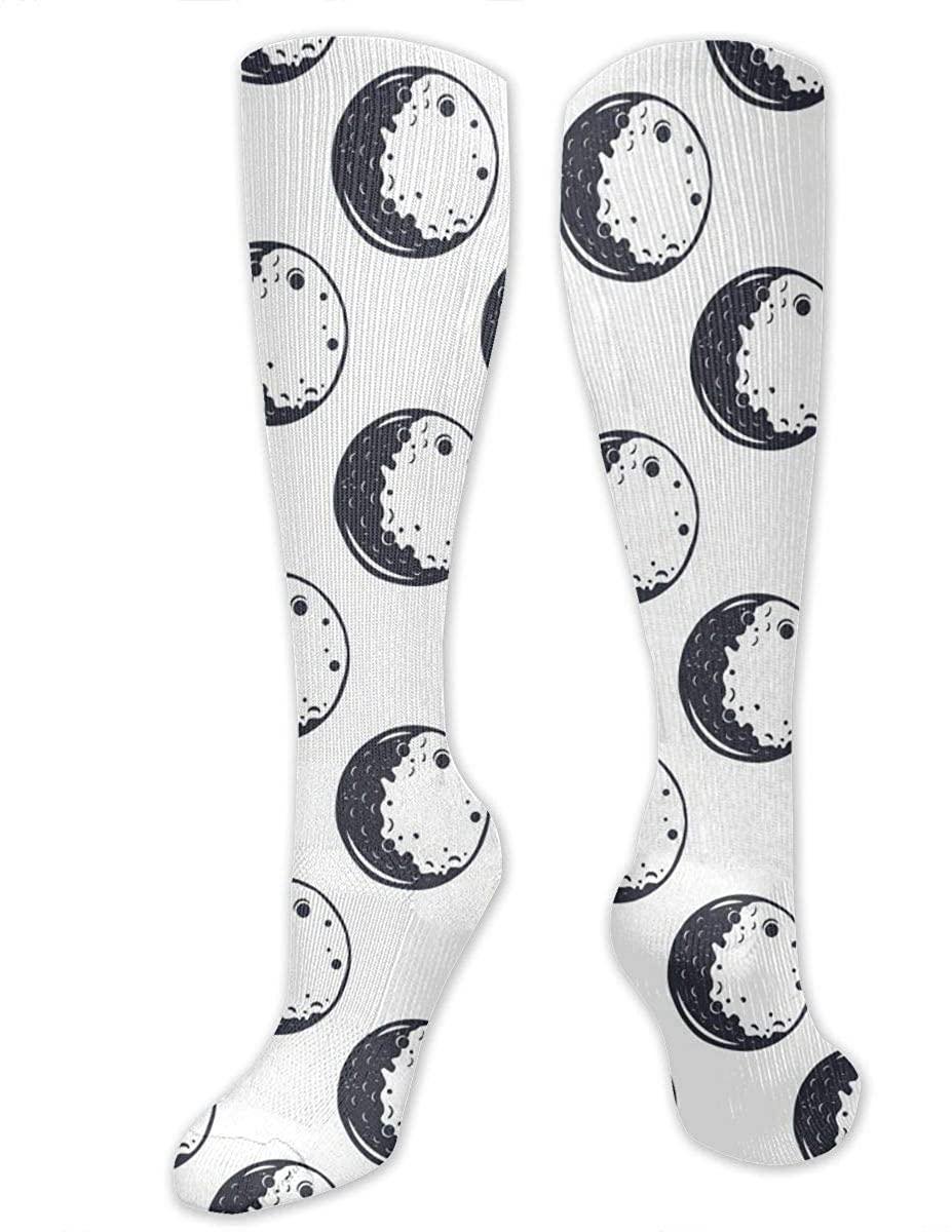 Knee High Socks For Men Women Vintage Space Moon Pattern Cycling Hose Stockings