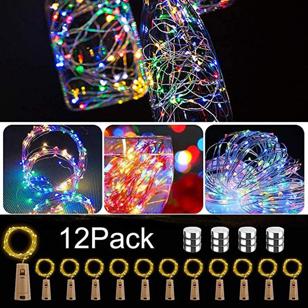 LARNOR 12Pcs Copper Wire String Lights Cork Shaped LED Night Light Starry Light Wine Bottle Lamp for Party Decor (Multicolor, 2)