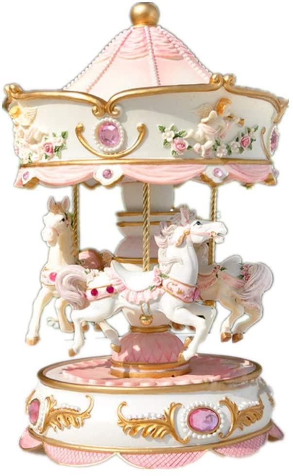 PUEEPDEE Music Box Music Box Carousel Color Change LED Luminous Light 3-Horse Rotating Windup Musical Gift Birthday Gift Music Boxes for Girls (Color : Picture Color, Size : 13X13X20CM)
