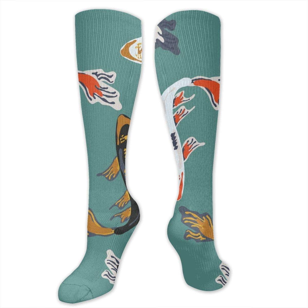 Knee High Socks For Men Women Japanese Koi Carp Art Workout Hose Stockings