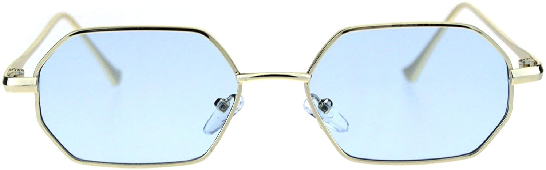Pimp Daddy Color Lens Octagon Narrow Rectangular Metal Rim Sunglasses