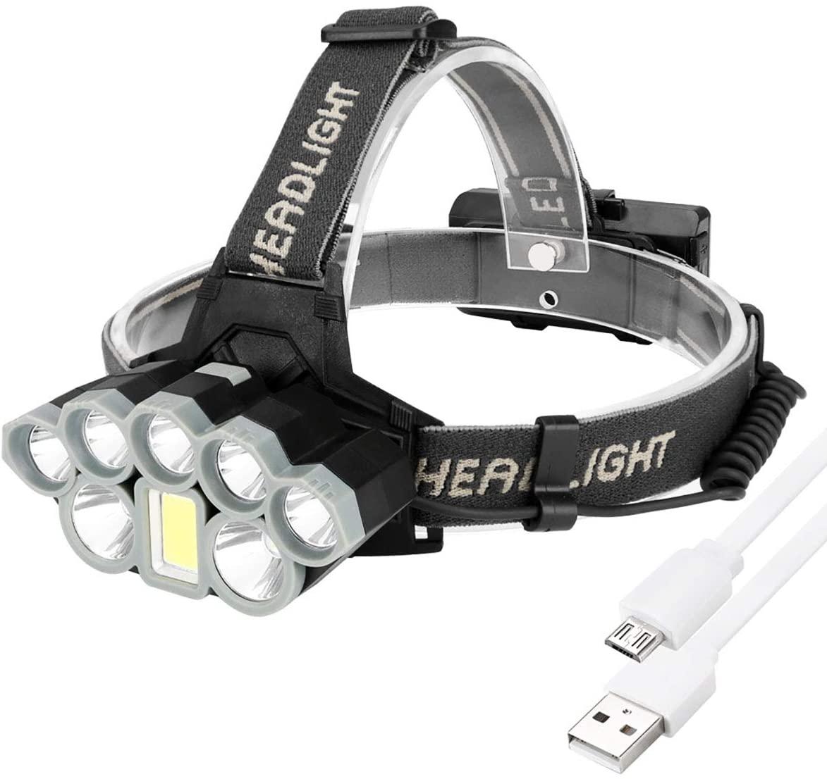 LED Headlights, 6 Lighting Modes Glare Sensor Rechargeable Remote Super Bright Head-Mounted Flashlight Fishing Night Fishing Lights