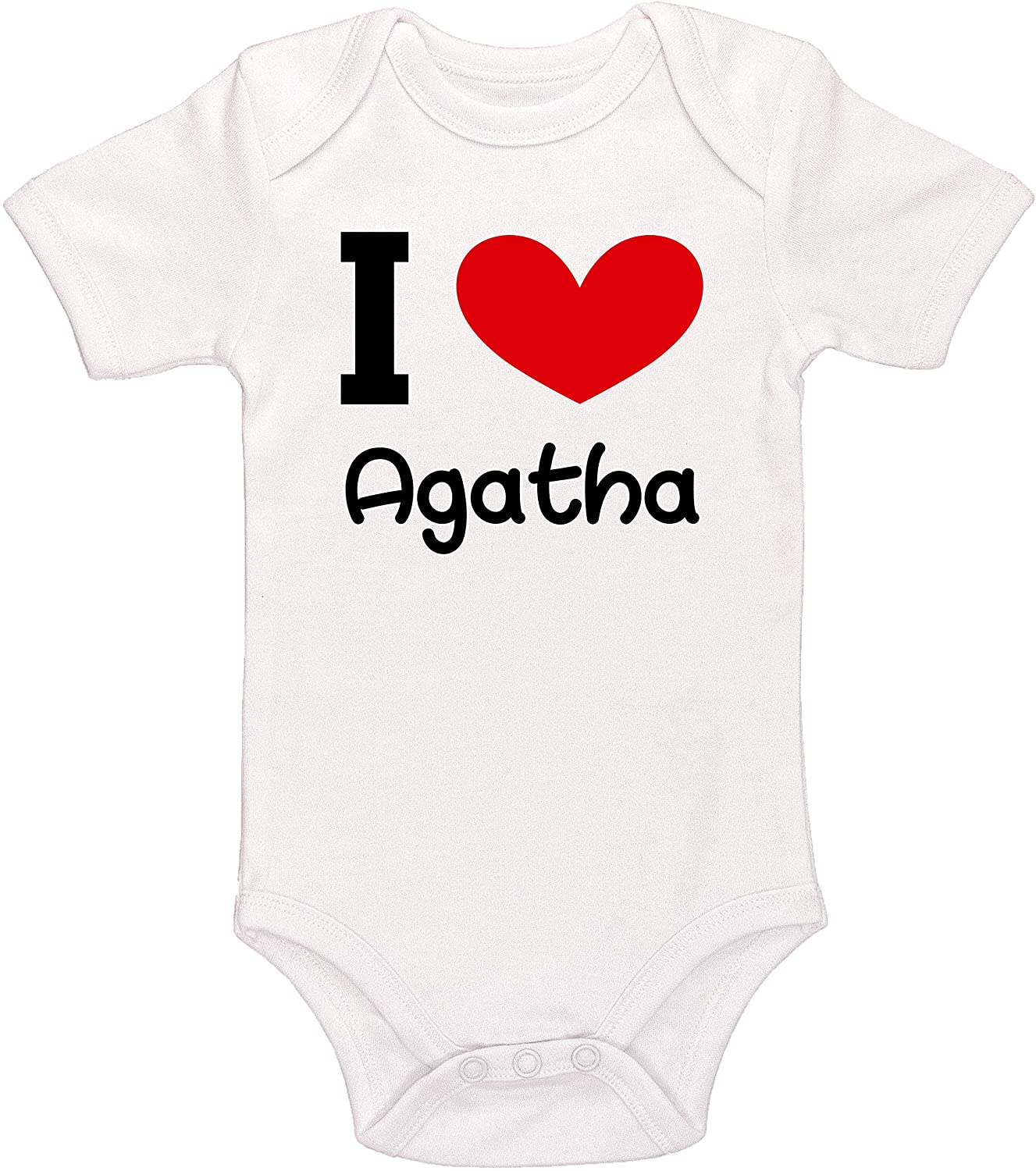 Kinacle I Love Agatha Personalized Baby Bodysuit
