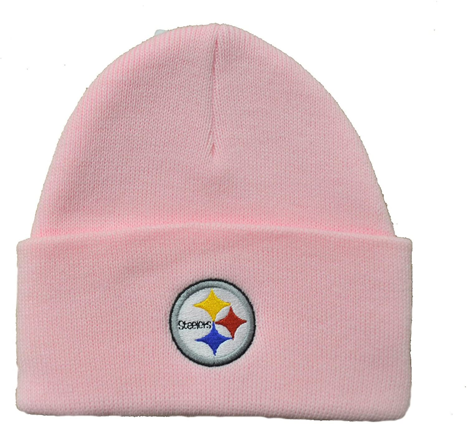 NFL Officially Licensed Basic Cuffed Logo Beanie Hat Cap Lid Skull (Pittsburgh Steelers Pink)