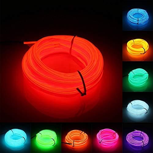 5M 2.3mm LED Flexible EL Wire Neon Light Glow Lights Strips Party Strip Lights String Bar Lamp Home House Festival Chrismas Deco