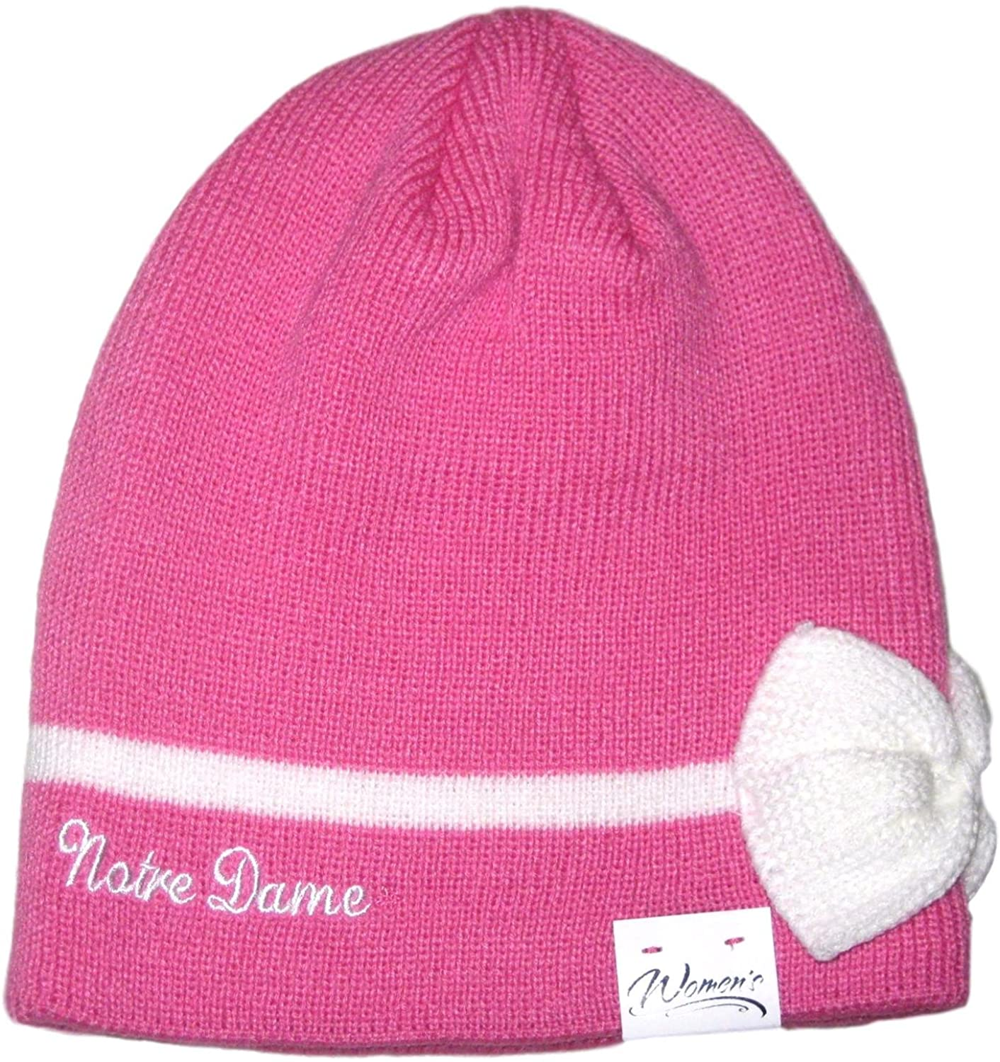 Fan Apparel Notre Dame Fighting Irish Pink with White Bow Beanie Hat Toque