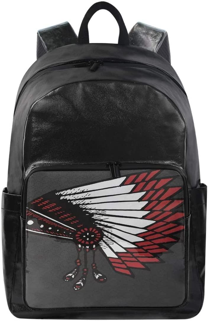 Women/Men Bookbag American Indian War Casual Canvas Backpack School Back Pack Rucksack Daypack for Students