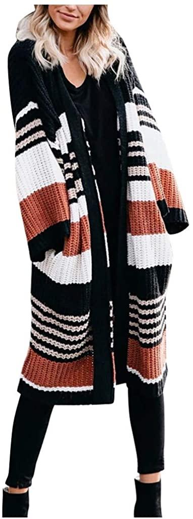 Ninasill Women Winter Knitwear Coat Long Sleeve Pocket Casual Striped Warm Overcoat