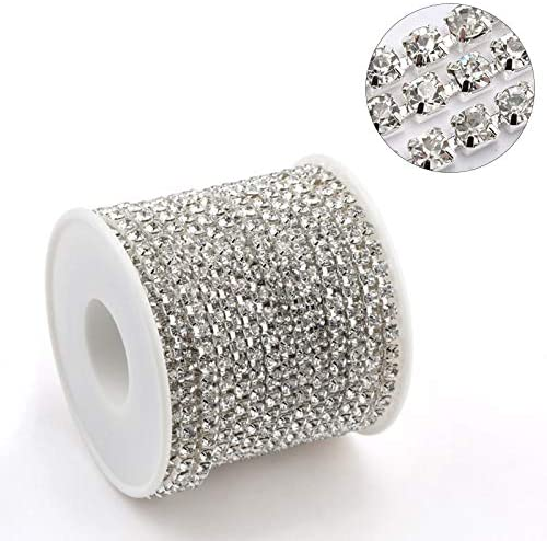 Juijnkt 1Yard 10Yards/Roll SS6-SS16 Glitter Crystal Rhinestone Chain Sew-On Glue-On for Clothes DIY Accessories Trim Cup Chain Silver Base Clear ss10-2.8mm 1 Yard - Pack