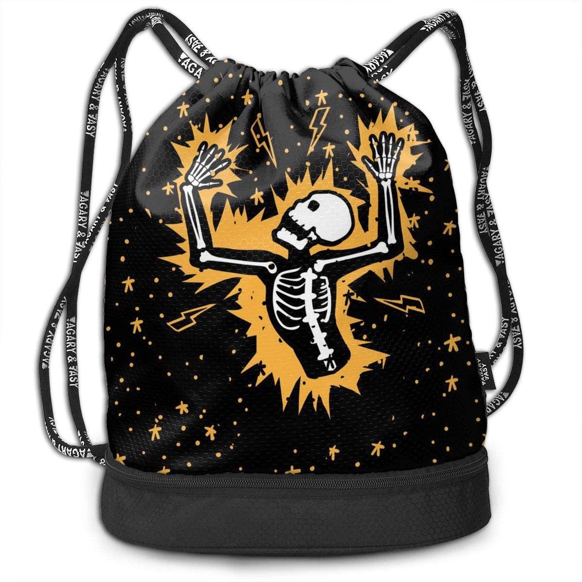 Bundle Backpacks Skull Rib Cage Skeleton Electric Shock Gym Sack Drawstring Bags Casual Daypack Yoga Bag School Training Pouch
