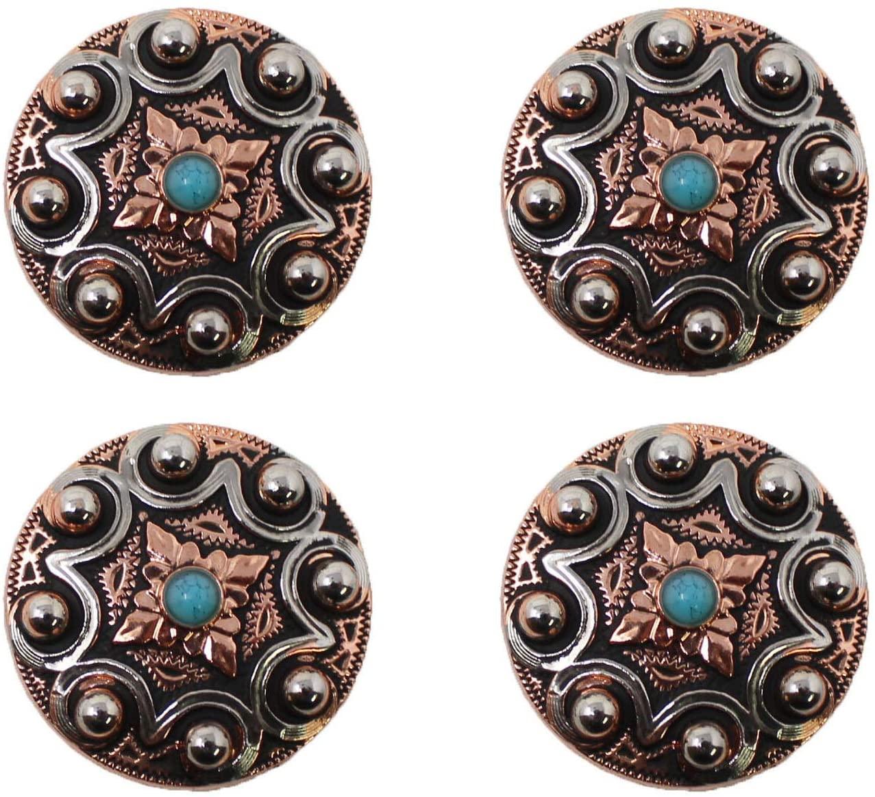 CHALLENGER Set of 4 Conchos Western Saddle Tack Engraved Copper Co553