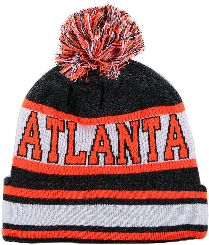 City Hunter Sk1130 Atlanta Stripes Pom Pom Beanie Hats - Dark Grey/orange