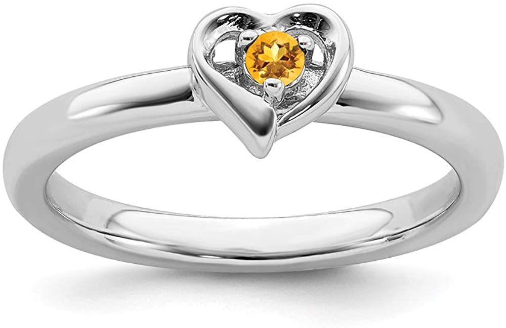 Solid 925 Sterling Silver Stackable Citrine Yellow November Gemstone Heart Ring Eternity Band
