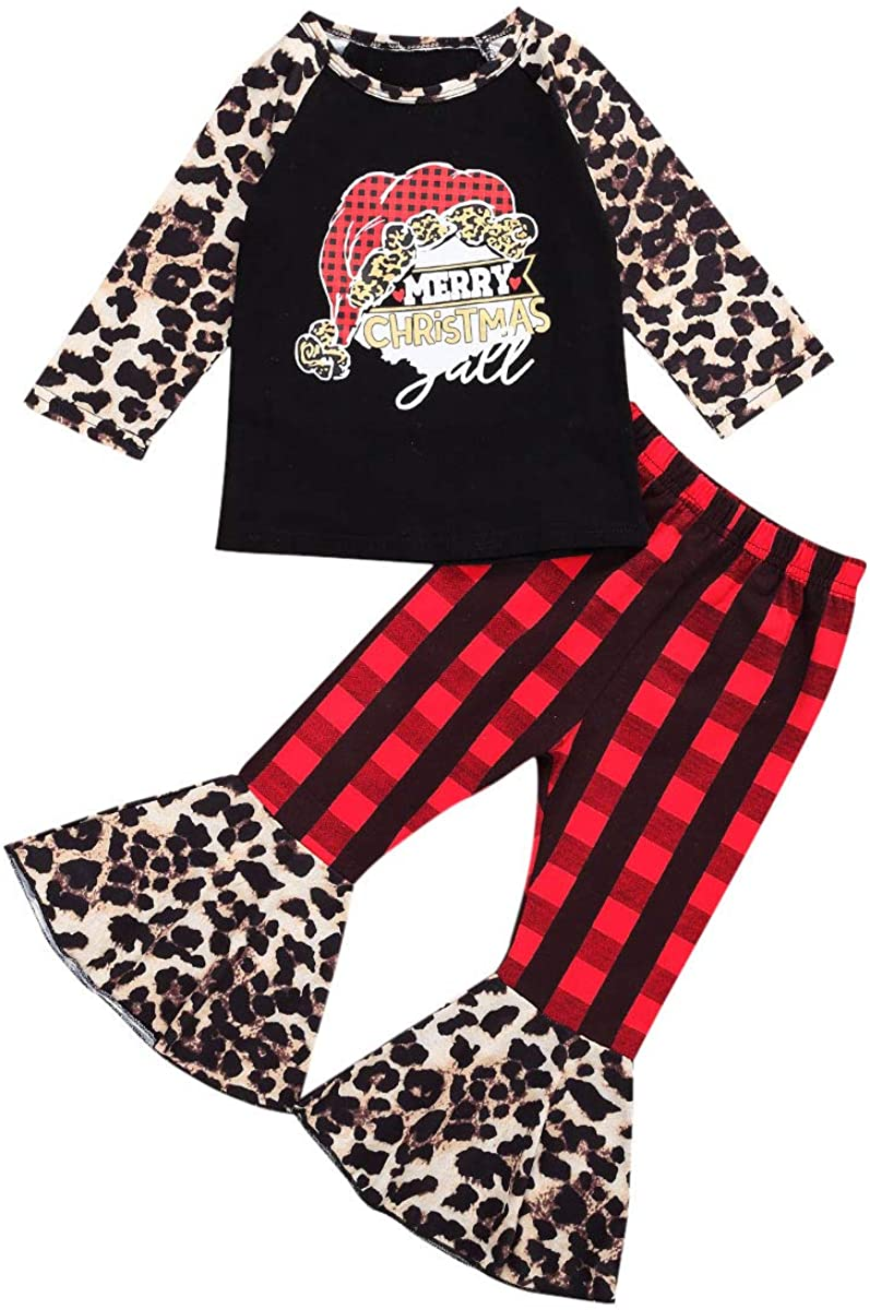Baby Girl Christmas Clothes Red Plaid Long Sleeve Shirt Tops&Leopard Bell-Bottom Pants Fall Winter Outfit Set
