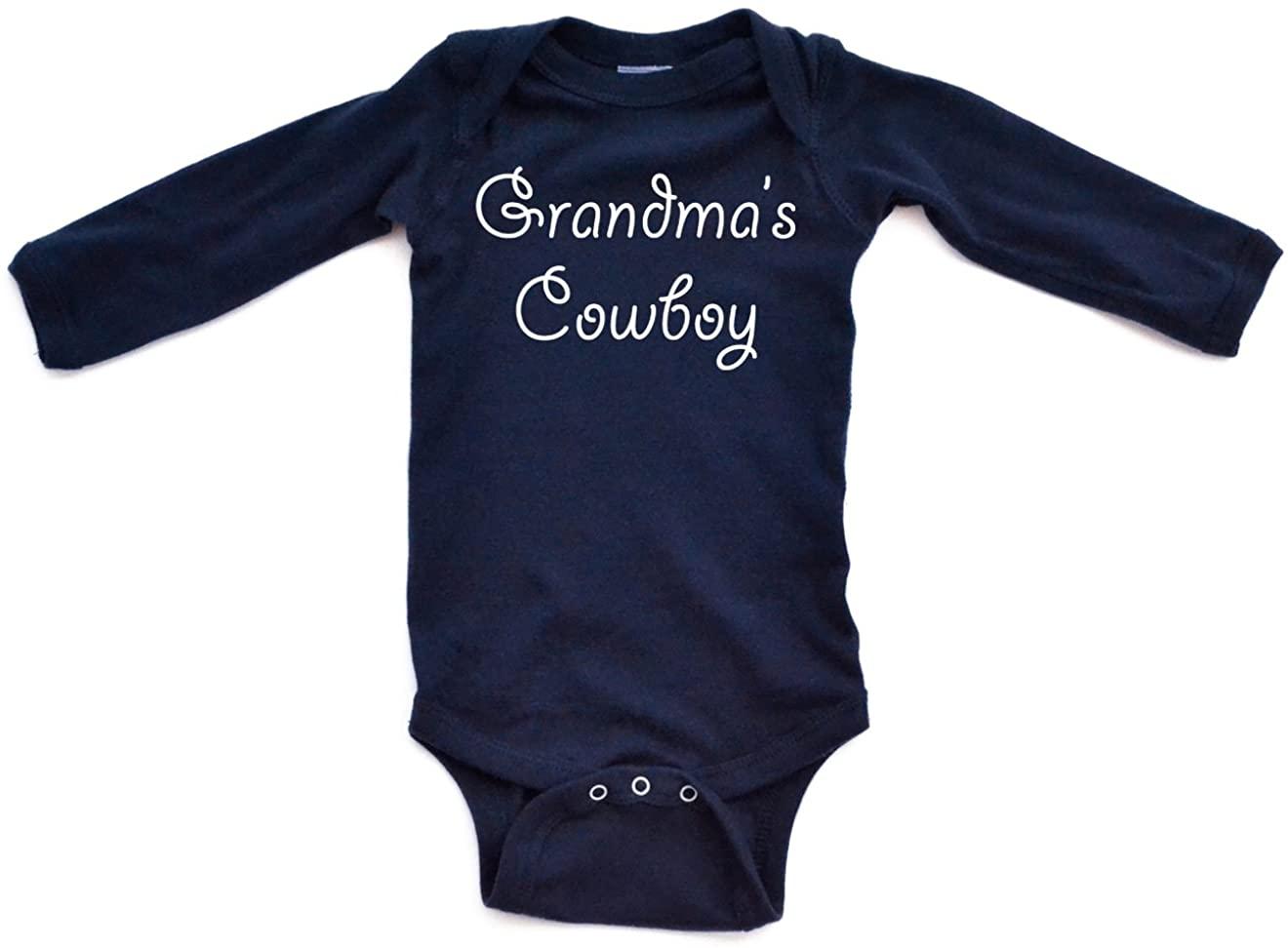 Apericots Grandma's Cowboy Adorable Cute Baby Long Sleeve Country Boy Western Creeper