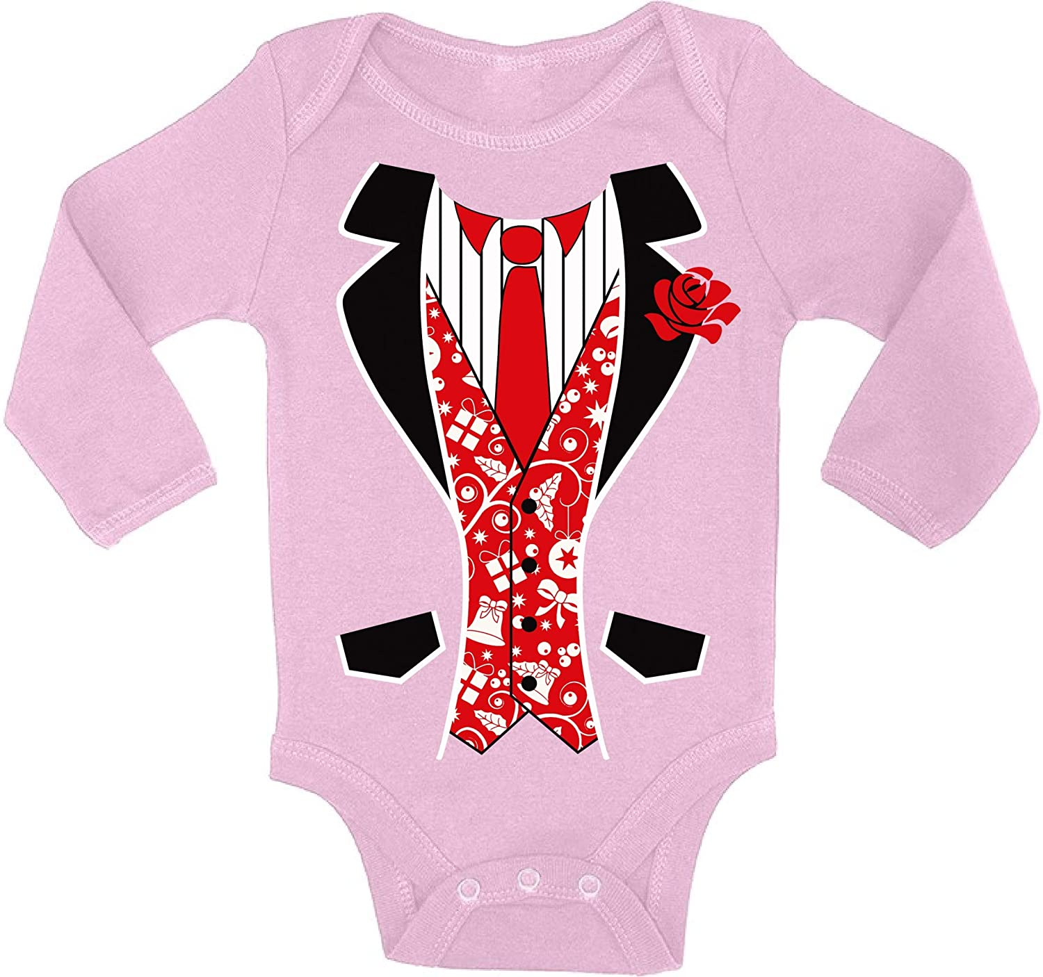 Awkward Styles Ugly Xmas Baby Outfit Bodysuit Red Christmas Tuxedo Baby Romper