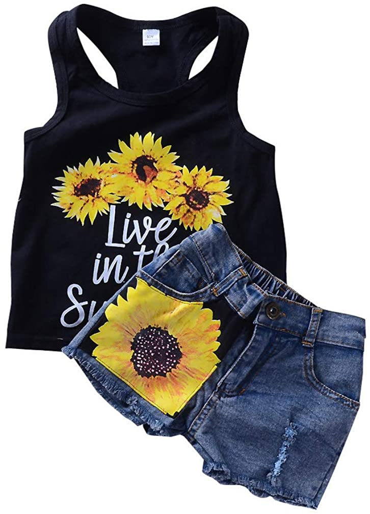 Toddler Kids Baby Girl 2Pcs Outfits Set Summer Sleeveless T-Shirt Vest Top +Floral Denim Shorts Pant
