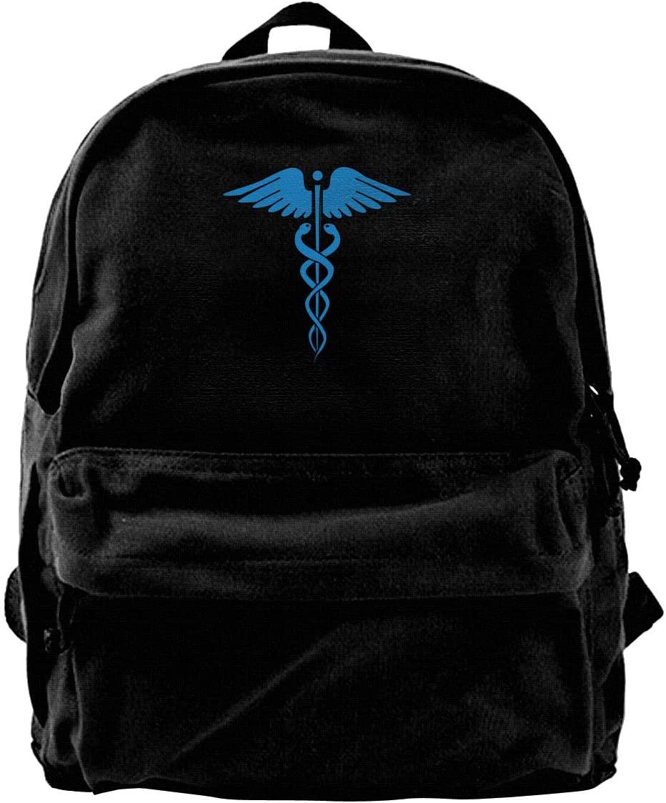 Snake Medical Emblem Canvas Backpack School Laptop Bag Hiking Travel Rucksack Black Unisex Daypack