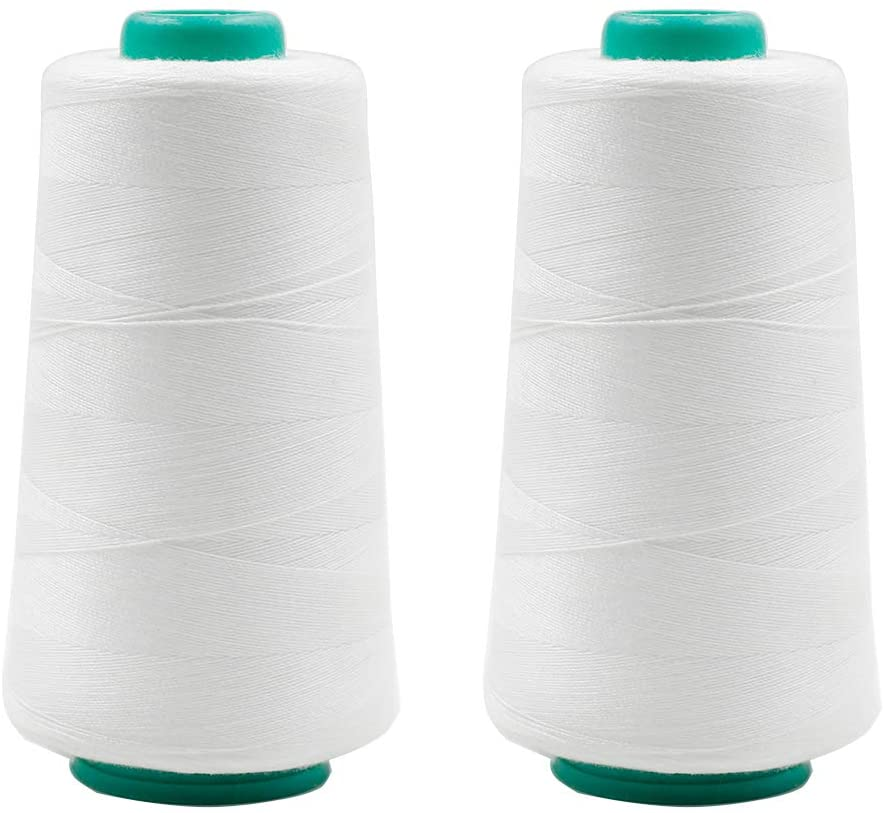 TOUHIA 100% Polyester Sewing Thread Cones 1500 Yards Each for Quilting, Serger Machines, Overlock, Hand Embroidery (White, Pack of 2)