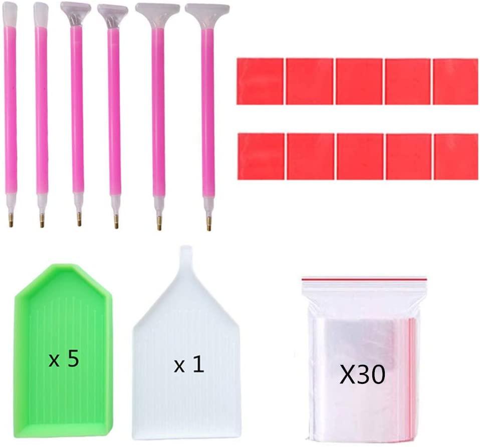 Set of 52 Pieces Diamond Painting Tools 5D Diamond Painting Accessories(Diamond Sticky Pens, Sorting Trays, Wax, Storage Bags) for DIY Diamond Rhinestone Painting Project