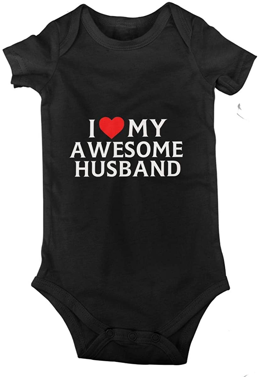 I Love My Awesome Husband Baby Climbing Clothes Short Sleeved Bodysuit