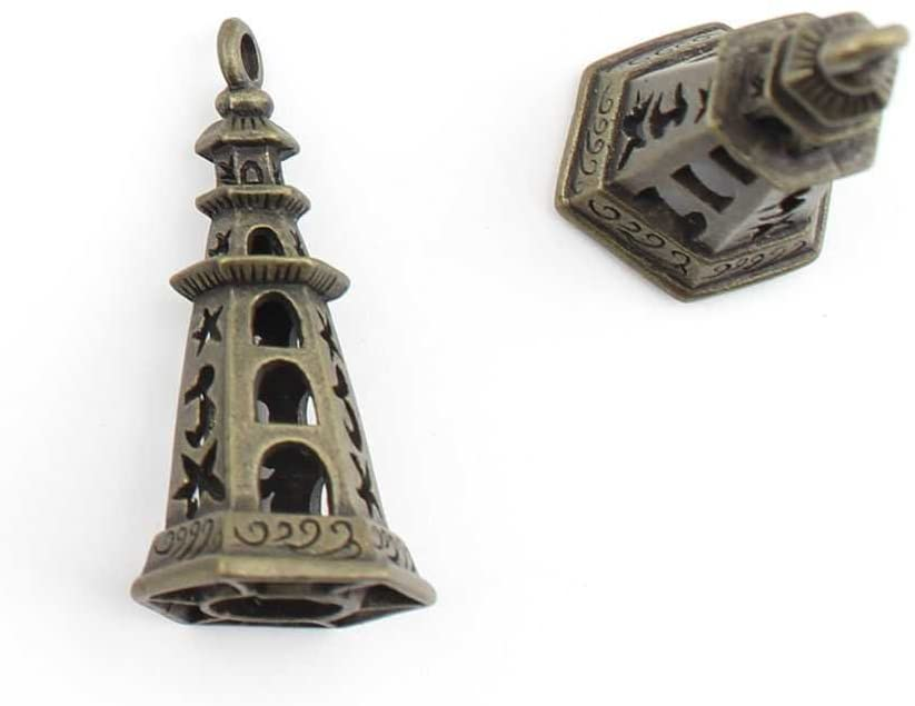 1 Piece Jewelry Making Charms Hollow Pagoda Lamppost retro vintage supply bulk antique