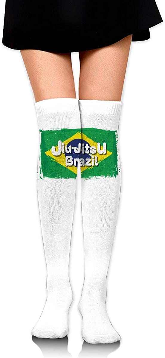 Knee High Socks Brazilian Flag Jujitsu Women's Athletic Over Thigh Long Stockings