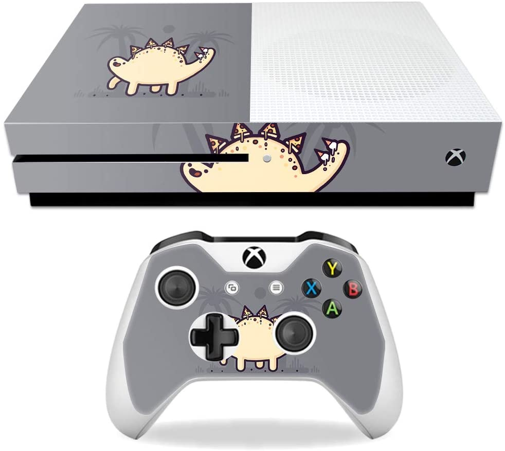 MightySkins Skin Compatible with Microsoft Xbox One S - Stego Pizza   Protective, Durable, and Unique Vinyl Decal wrap Cover   Easy to Apply, Remove, and Change Styles   Made in The USA