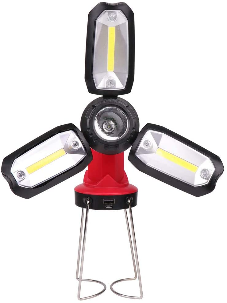 Powerful Multifunction Folding Lamp Work Light with Metal Stand,Large Capacity Battery,Portable Press Switch Waterproof 5 Modes Dimming Torch.