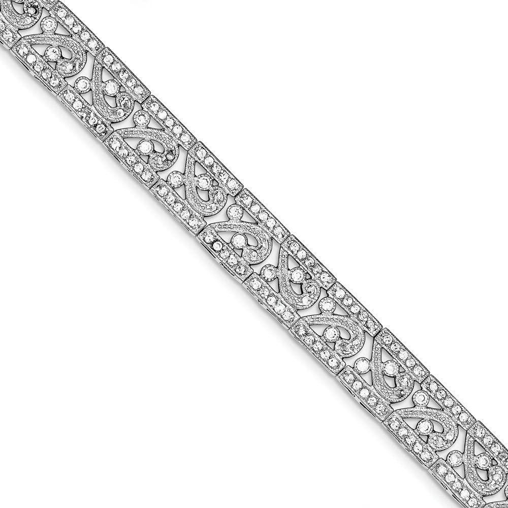 Jewelry Bracelets CZ Bracelets Sterling Silver Rhodium-plated Fancy CZ Bracelet