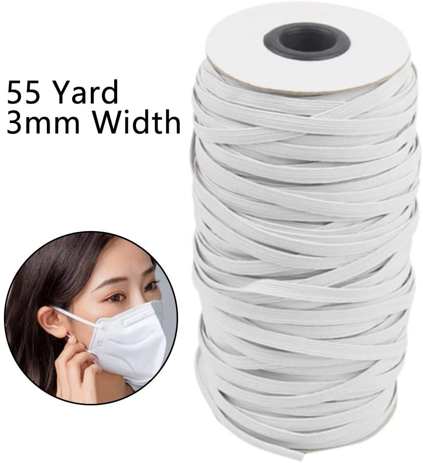 Shan-S Elastic Bands for Face Guard Braided Elastic Cord White Rope Heavy Stretch High Elasticity Knit Elastic Band for Sewing Crafts DIY Bedspread Cuff 55 Yards Length