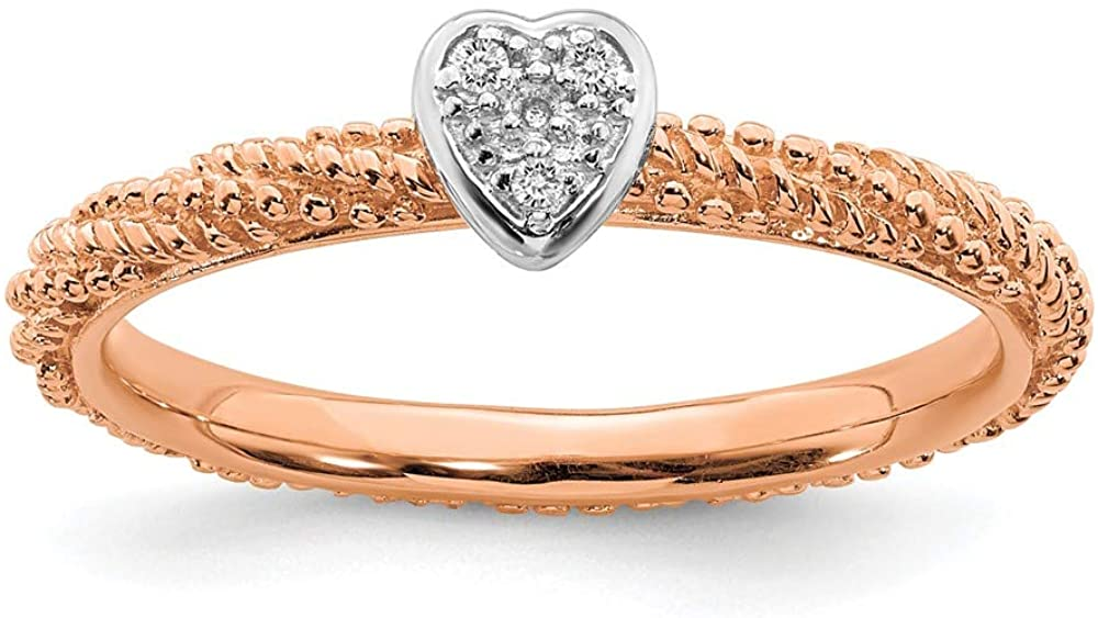 925 Sterling Silver Diamond Stackable Rose Gold Plated Heart Ring Eternity Band (.02 cttw.)