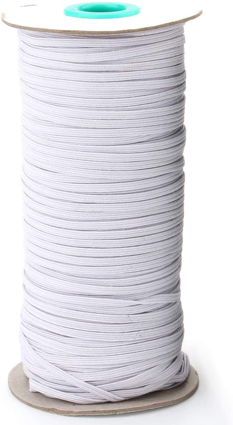 Tosnail 170-Yards Long 3mm Wide Knit Elastic Spool Elastic Cord for Sewing or Craft Project - (White)