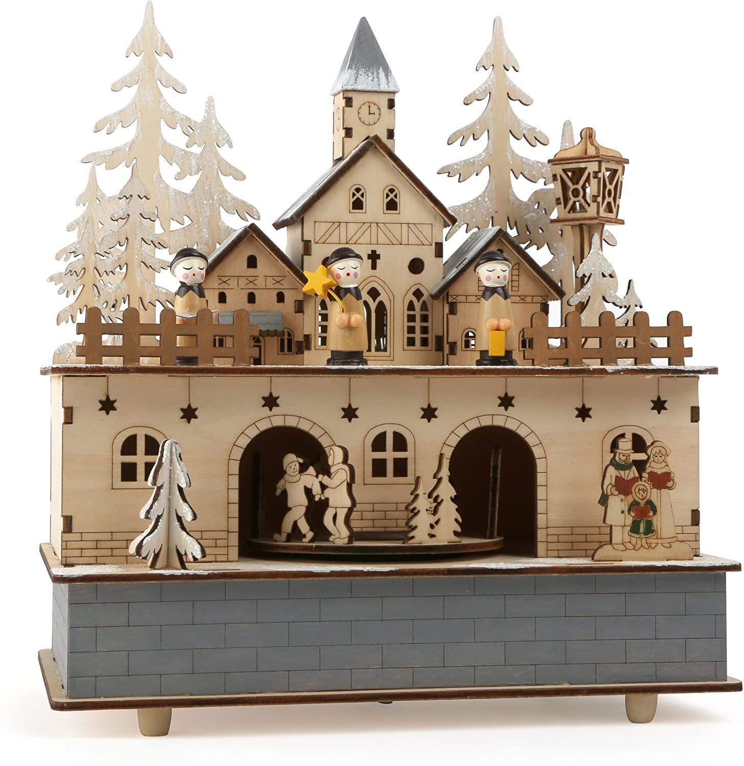 Small Foot Little Village Music Box and Lamp, Wood, Nature, 24 x 21 x 11 cm