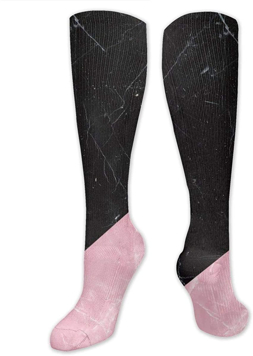 Knee High Socks For Men Women Black Marble Pink Design Thigh Hose Stockings