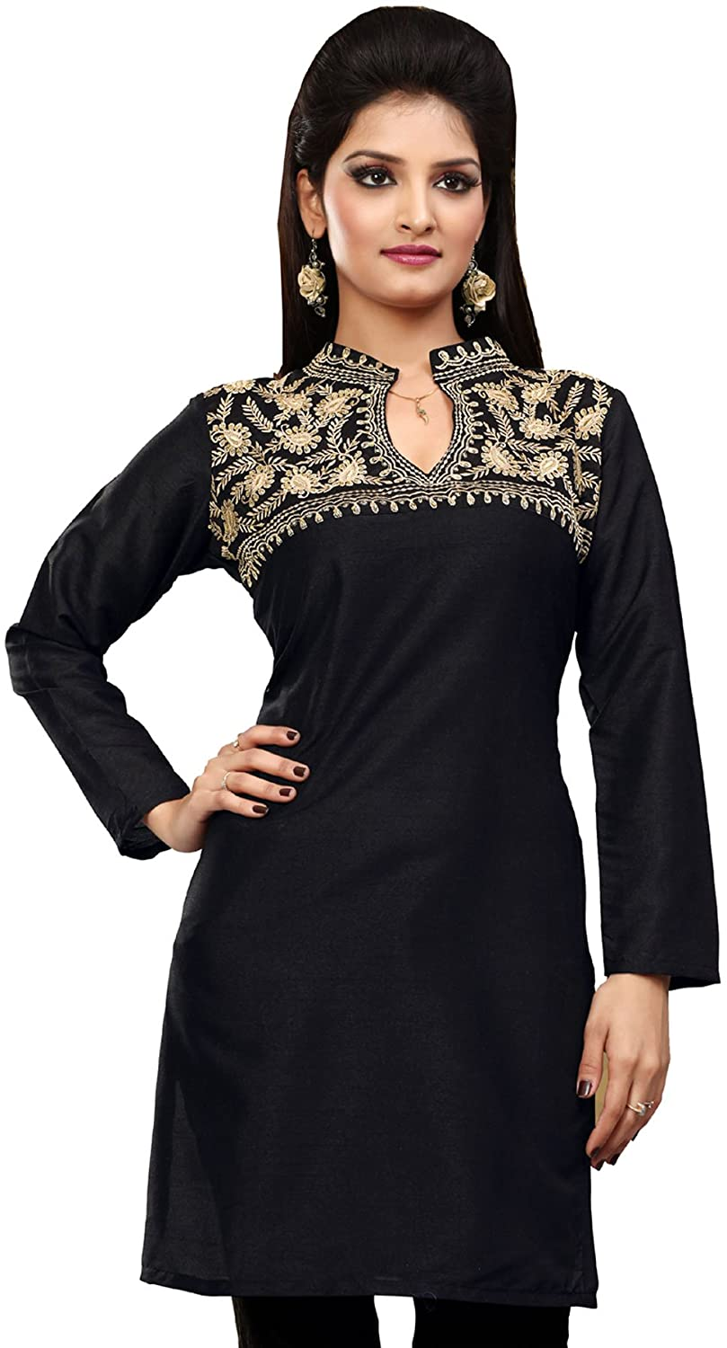 Maple Clothing Short Kurti Indian Tunic Top Women's Embroidered India Apparel