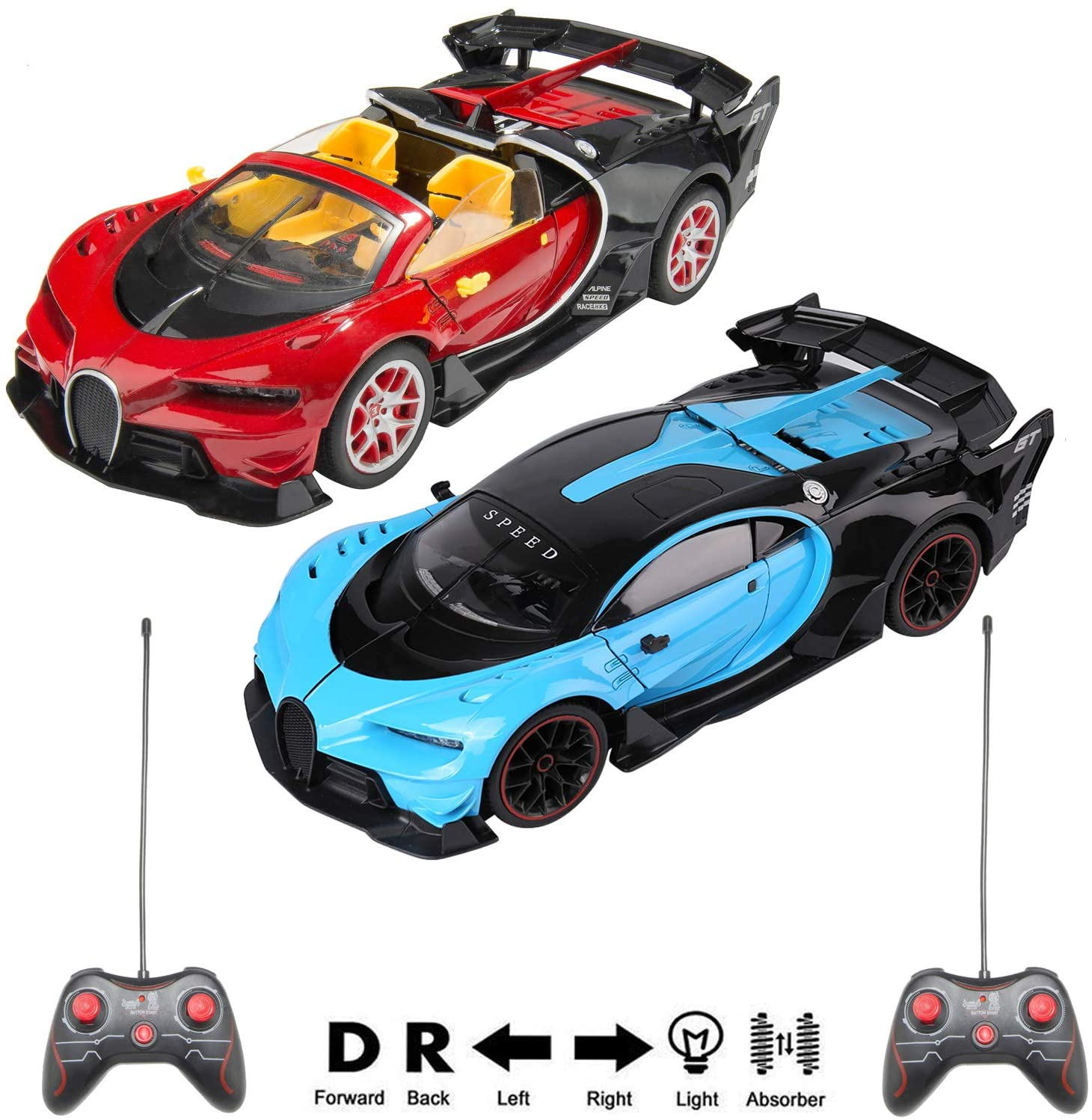 1/14 Scale Chiron Remote Control Sports Vehicle Bundle Set with Blue and Red Chiron R/C Cars for Adults, Boys, Girls, Kids