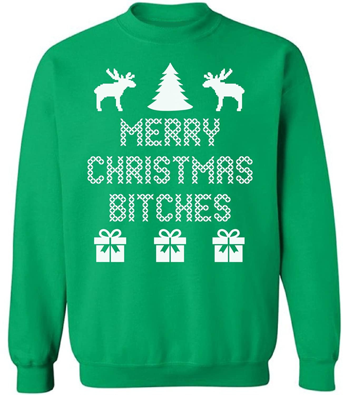 Pekatees Ugly Xmas Crewneck Sweatshirt Merry Christmas Bitches Winter Deer Sweater