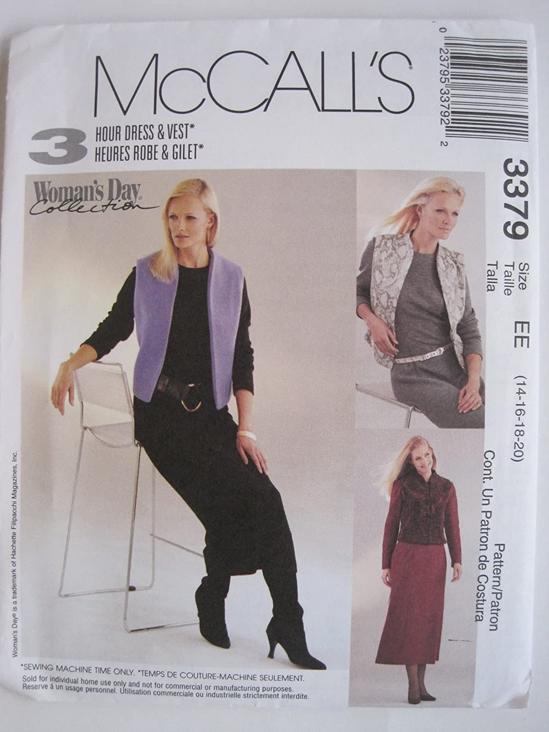McCall's Pattern 3379 Misses'/Miss Petite Dress and Lined Vest Sizes 14-16-18-20
