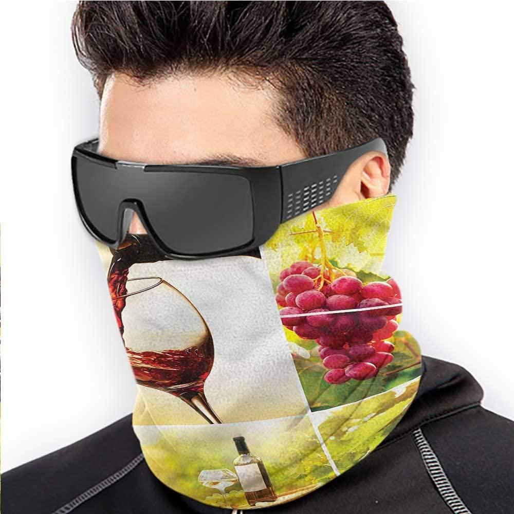 Scarfs For Women Wine Sun Dust Bandanas For Fishing Motorcycling Running Vineyard Grape Harvest 10 x 12 Inch