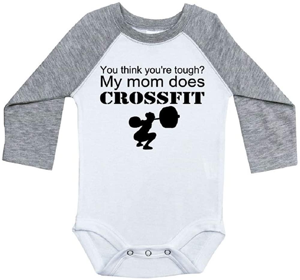 Ebenezer Fire Crossfit Baby Onesie/You Think Youre Tough? My Mom Does Crossfit/Raglan Onesie