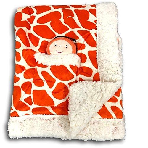 Metta Baby Blanket Animal Giraffe Print Velour Sherpa Faux Sheep Fur Unisex Plush Toy in Pocket 30 by 40