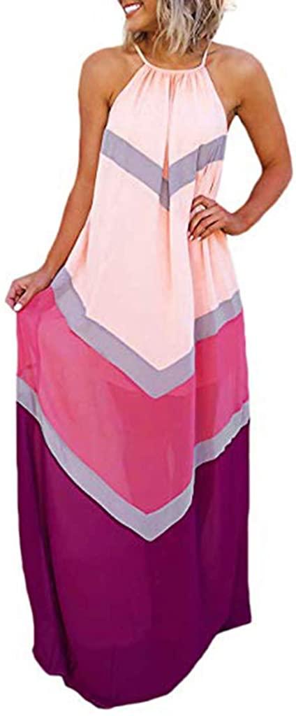 Maxi Dresses for Women COOKI Women's Casual Summer Loose Sleeveless Halter Neck Tie Dye Spaghetti Strap Beach Long Dress