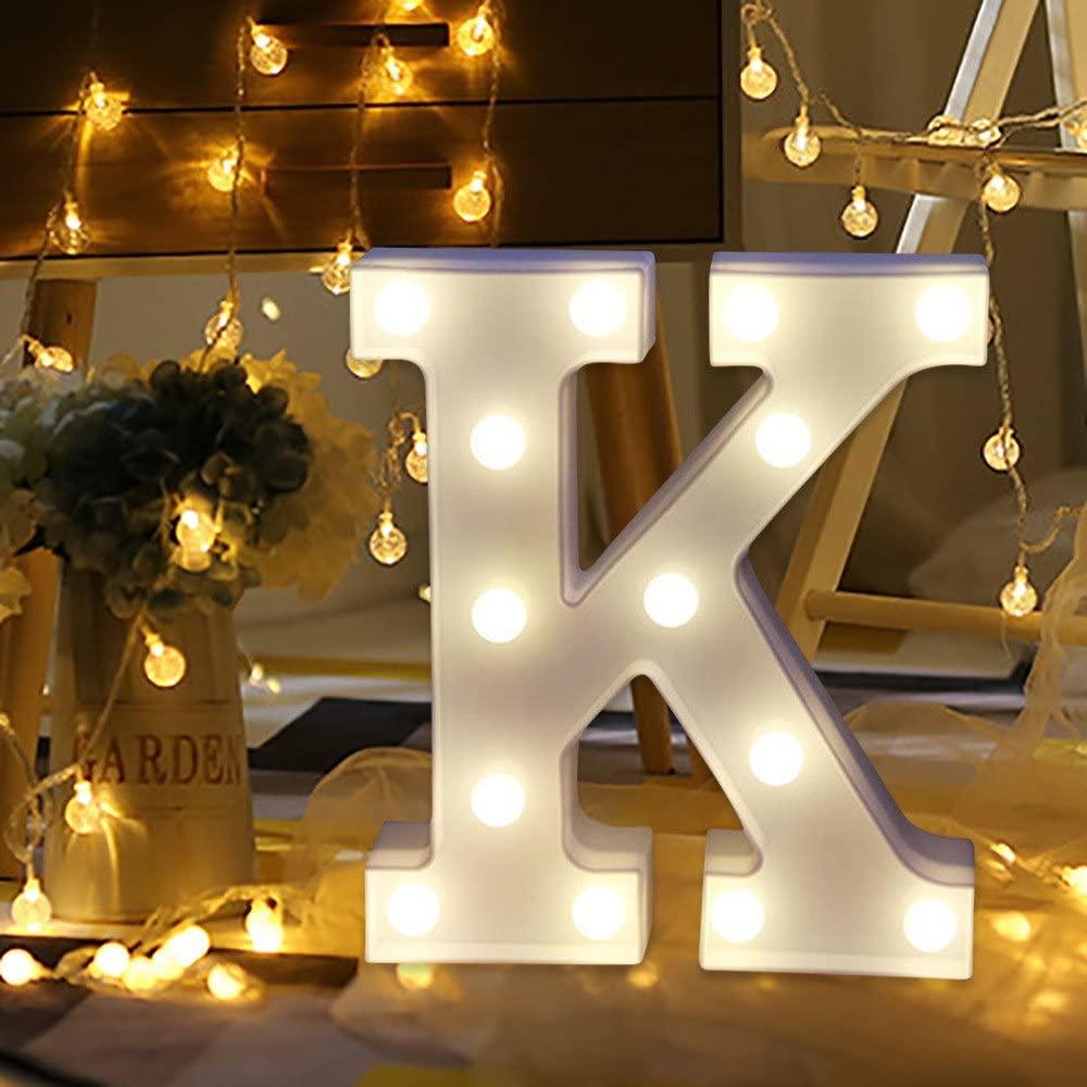 BOLUOYI Light Up Letters,Alphabet LED Letter Lights Warm White for Home Party Bar Wedding Festival Decorative (K)