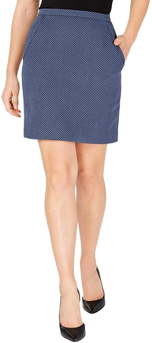 Anne Klein Womens Antonioni Pocketed Above Knee Straight Skirt Blue 8