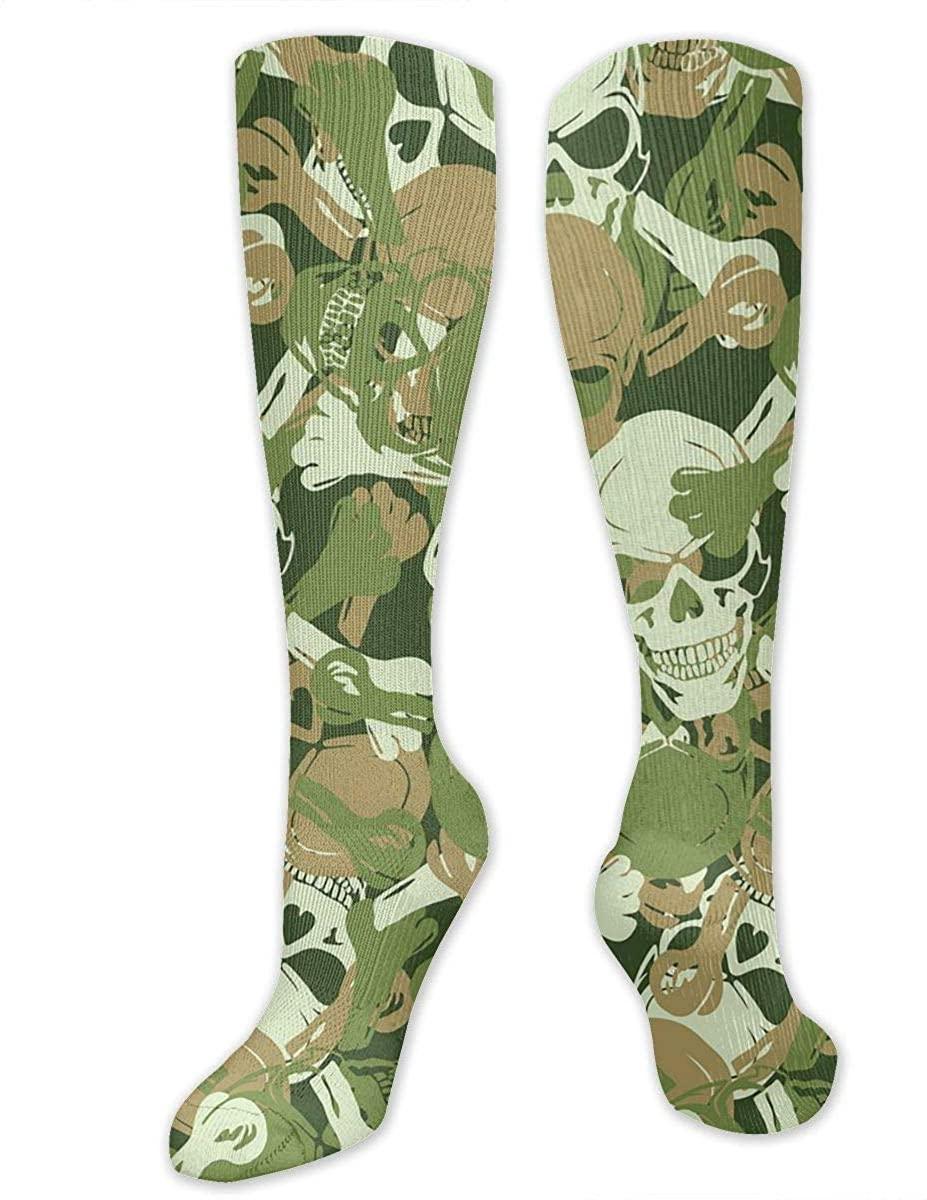 Men Women Knee High Socks Pirate Skull Green Camouflage Boot Tube Hose Thigh Stockings