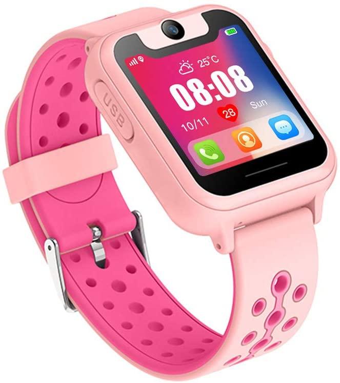 MIFXIN Kids Smart Watch Multifunctional Touch Screen Wristband with GPS Tracker Phone Call Camera SOS Flashlight Children Digital Sport Smart Watch Phone for Boys Girls Kids Gift (Pink)