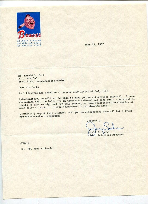 Jerald Sachs Braves Director Public Relations Signed Autograph 1967 TSL - MLB Autographed Miscellaneous Items
